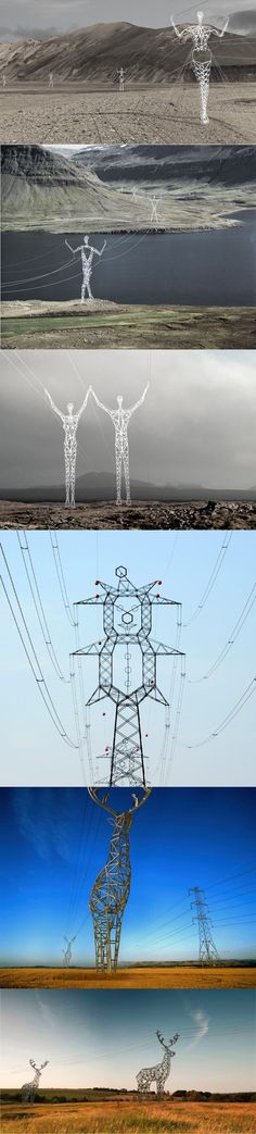 "Real(and Future) - The first four images of Electrical Transmission Towers are real and exist. The last two images are a Design Concept... The First three images are in Iceland and are titled the ""Land of the Giants"" by Choi+Shine Architects..The next image is a Clown-shaped high voltage electrical tower created near the M5 motorway in Újhartyán, Hungary by MAVIR, the Hungarian electricity transmission system operator..The last two are a design concept by Moscow-based design studio Design…"