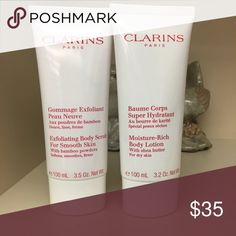 Clarins Scrub and Lotion Duo ‼️NEW‼️This Clarins set includes the Exfoliating Body Scrub 3.5 oz and Moisture-Rich Body Lotion 3.2 oz.  The scrub is a refreshing exfoliator with smoothing bamboo powders.  The lotion is an intensive moisturizing lotion that helps smooth dry skin. Clarins Other