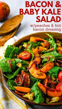Simple summer salad is loaded with fresh flavors and it's quick and easy to assemble. This easy baby kale salad with peaches, tomato, bacon, crunchy croutons and warm bacon dressing is the best seasonal lunch or dinner. The classic dressing recipe is tangy, smoky and delicious. #bacondressing #salad Winter Salad Recipes, Kale Recipes, Healthy Salad Recipes, Side Dish Recipes, Summer Recipes, Real Food Recipes, Dinner Recipes, Bacon Dressing, Salad Dressing Recipes