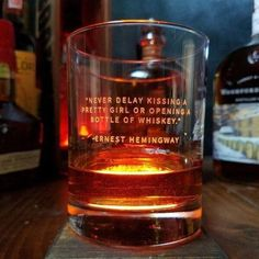 """Whiskey Lovers Engraved Personalized Whiskey Glasses- """"Never Delay Kissing A Pretty Girl or Opening A Bottle of Whiskey"""" -Ernest Hemingway Whiskey Glasses, Cigars And Whiskey, Bourbon Whiskey, Whiskey Bottle, Whiskey Cocktails, Irish Whiskey, Good Whiskey Drinks, Whiskey Gift Set, Bourbon Cocktails"""