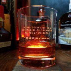 "Whiskey Lovers Engraved Personalized Whiskey Glasses- ""Never Delay Kissing A Pretty Girl or Opening A Bottle of Whiskey"" -Ernest Hemingway Whiskey Girl, Good Whiskey, Cigars And Whiskey, Whiskey Drinks, Whiskey Glasses, Bourbon Whiskey, Whiskey Bottle, Whiskey Recipes, Irish Whiskey"