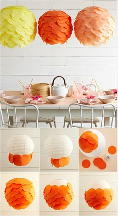 20 DIY Paper Lanterns and Lamps l Easy Paper Craft Ideas And Projects Bold and Bright Tissue Paper Discs Lanterns….Amazing DIY Paper Lanterns and Lamps to Brighten Your Home Easy Paper Crafts, Diy And Crafts, Paper Crafting, Cool Diy Projects, Craft Projects, Craft Ideas, Diy Abat Jour, Art Diy, Crafts For Teens