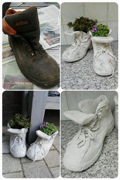 22 idee tutorial per creare delle fioriere da far invidia a tutti. Concrete draping tutorial tests of 8 kinds of different fabrics amp fibres for portland cement dipping t Concrete Leaves, Concrete Pots, Concrete Crafts, Concrete Projects, Concrete Filler, Concrete Furniture, Hand Planters, Cement Planters, Garden Planters