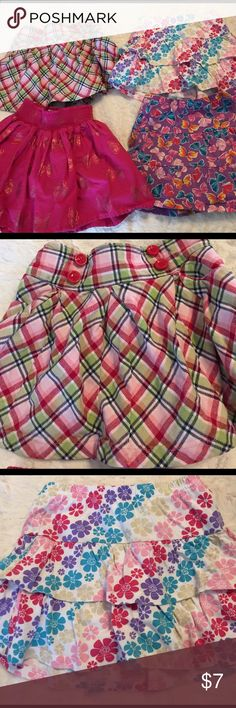 Girls Skort bundle. Size 5 Gymboree plaid skort; size 5. Jumping beans multi color flower skort; size 5. Children's Place pink w/foil butterflies; size 5. Children's Place purple with multi color butterflies skort; size 5/6. All in good condition with no stains or holes. Smoke free/cat free home. Gymboree Bottoms Skorts