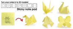 Clever double use for sticky notes, recycles your notes into Origami by following the printed instructions. Designed by SUCK UK