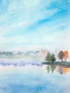 MISTY LAKE  watercolor 9 x 12 in  2011©yoshiko mishina