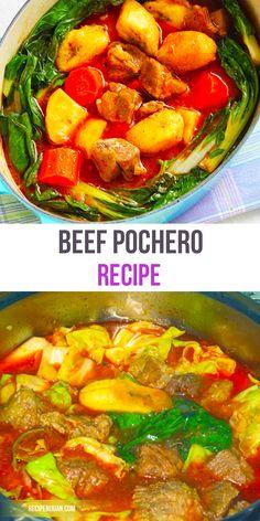 This Beef Pochero recipe is basically a tomato-based stew with chorizo, potato, banana and chick peas.