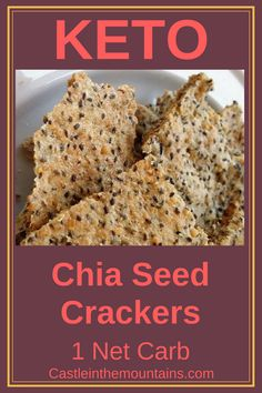 Crunchy Keto Chia Seed Crackers ~ 2 Net Carbs Per Serving. These crunchy crackers are healthy and delicious. Chia seeds are an amazing super-food! Vegan Keto Diet, Low Carb Keto, Low Carb Recipes, Paleo, Ketogenic Diet, Keto Chia Seed Recipes, Recipes With Chia Seeds, Flaxseed Meal Recipes, Vegan Recipes
