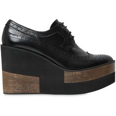 Paloma Barcelò Women 100mm Brogue Leather Wedges ($215) ❤ liked on Polyvore featuring shoes, oxfords, black, wedge shoes, balmoral oxfords, black wedge shoes, brogue shoes and leather shoes