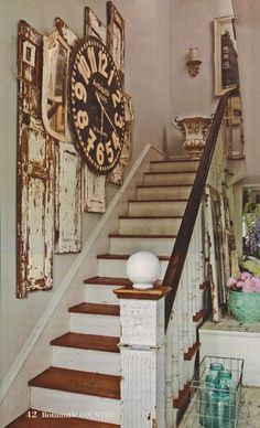 Shabby Home, Flea Market Style, Decorating With Pictures, Stairway To Heaven, Cottage Homes, Shabby Chic Decor, Stairways, Interior Inspiration, Home Improvement