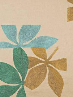 Linen fabric w/ hand-embroidered motif - Fauna in Sahara/Mint/Ocean/Pollen by Judy Ross Textiles