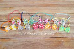 SET of 3  bow headband little bow newborn by ThePickledPeanut, $11.49