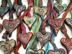 Raku Ceramic Heart Pendant with Hand Dyed Silk Ribbon by MAKUstudio, via Flickr
