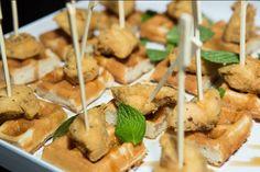 Mini Chicken & Waffles w/ Bourbon Glaze
