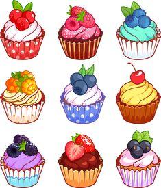 Cute Food Drawings, Cute Kawaii Drawings, Kawaii Art, Easy Drawings, Cartoon Cupcakes, Fruit Cupcakes, Kawaii Doodles, Cute Doodles, Flower Doodles