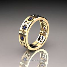 Womens Modern 14K Yellow Gold Blue Sapphire Formal by artmasters