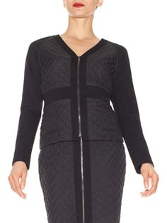 "Doncaster.com-P225JK48BLA -  Wonderful black suit with V-Neck Jacket in Poly Quilt  (petite). Full length black ponte knit sleeves, gunmetal zipper closure at center front, black ponte knit sleeves, back body, waist yoke, neck and center front, patch pockets at center front, waist yoke. Stretch lined front only, 22"". Dry Clean Only. Imported. 100% POLYESTER, TRIM: 66% RAYON, 30% NYLON, 4% SPANDEX"