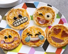 Mini Emoji Pizzas Be the hit of the day with these fun Emoji Pizzas! #rhodesbread