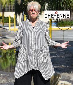 CHEYENNE TT0645 Linen OVAL POCKET Jacket Top S/M L/XL NATURAL/BLACK STRIPE #Cheyenne #ButtonDownShirt #Versatile