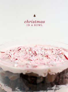 "peppermint mousse, chocolate pudding, and brownies combine to make ""Christmas in a bowl"""