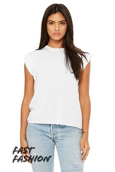 4d7e869c Women's Flowy Muscle Tee with Rolled Cuff | Bella-Canvas Cheap Wholesale  Clothing, Bella