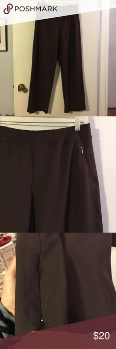 Lucy brown yoga pants Elastic waist. Front zip pockets. Zip ankle detail   Micro poly with a touch of spandex Lucy Pants