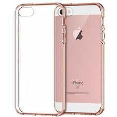 Rankie iPhone SE 5S 5 Case Shock-Absorption Bumper with Anti-Scratch Clear Back (Rose Gold)