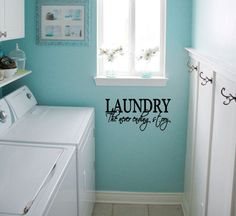 laundry room paint ideasLaundry Room Clothesline Vinyl Decal inspiration for a painted