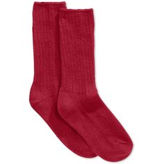 Hue Women's Ribbed Boot Socks ($8.50) ❤ liked on Polyvore featuring intimates, hosiery, socks, deep red, red socks, hue socks, ribbed socks, thick socks and hue hosiery