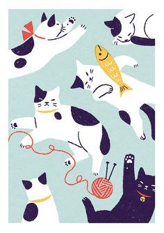 猫 Shino's illustration works Cool Cats, I Love Cats, Crazy Cats, Illustration Mignonne, Art Et Illustration, Pattern Illustrations, Animal Illustrations, Simple Illustration, Motifs Textiles
