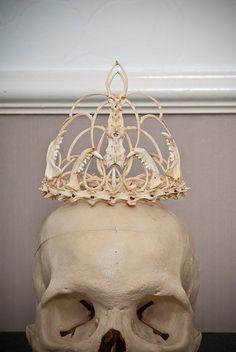 Memento Mori bone crown tiara wedding by MementoMoriUK