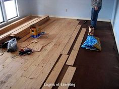 Real Wood Floors Made From Plywood DIY plywood wood floors. Save a ton on wood flooring. I want to do this so bad. The post Real Wood Floors Made From Plywood appeared first on Wood Diy. Plywood Flooring Diy, Diy Wood Floors, Real Wood Floors, Best Flooring, Vinyl Plank Flooring, Basement Flooring, Laminate Flooring, Painted Floors, Wood Pallet Furniture