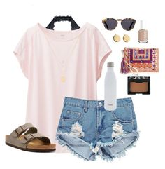 summer by jamiewyskiel on Polyvore featuring Uniqlo, Free People, Boohoo, Birkenstock, Street Level, Loren Stewart, Henri Bendel, Illesteva, NARS Cosmetics and Essie