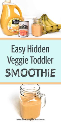 Hidden Veggies For Kids - Smoothie Recipe Toddlers can be picky eaters. Try this EASY smoothie recipe to help get veggies into a toddler's Toddler Smoothie Recipes, Healthy Smoothies For Kids, Toddler Smoothies, Veggie Smoothies, Easy Smoothies, Baby Food Recipes, Healthy Lunches, Healthy Kids, Easy Toddler Snacks