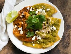 chilaquiles rojos and verde ancho tomatillo salsa