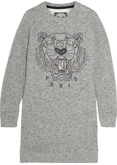 KENZO - Tiger-embroidered Cotton Sweatshirt Mini Dress - Gray