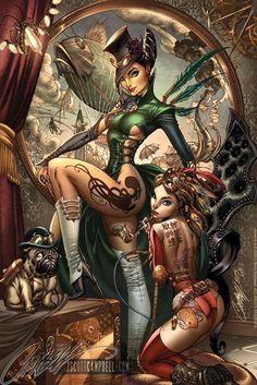 Steampunk tattoo girls, J Scott Campbell