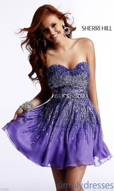 Short Strapless Sweetheart Sherri Hill Dress SH-8413