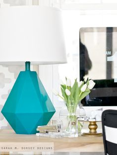 Robert Abbey Delta Modern Geometric Table Lamp Knockoff. Made for only $11 and you will never guess what the base is made out of. DIY tutorial on how to make it from Sarah M. Dorsey via East Coast Creative.