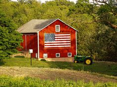 Old Glory on a red barn.... cool!