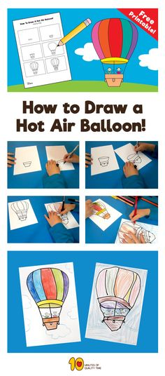What can be more fun than flying in hot air balloon on a beautiful sunny day?  Learn how to draw with your child a hot air balloon step by step with our fun tutorial.