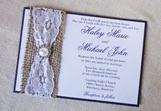 home made rustic wedding invatations  | Rustic Burlap and Vintage Lace Pearl Accent Wedding Invitation