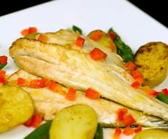 Pan-Fried Seabass with Garlic Lemon Butter Sauce and Spring Vegetables