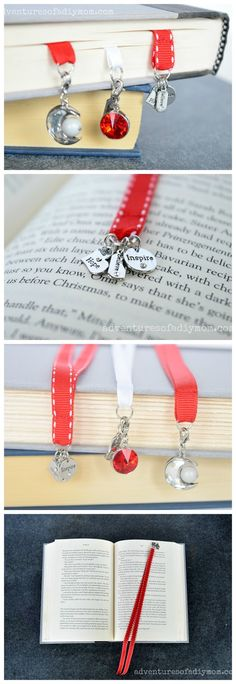 Ribbon Bookmarks - a simple 5 minute project. Learn to make a simple ribbon bookmark with charms. This easy 5 minute DIY is a great use of left over ribbon from other projects. The charms add a pretty accent. Beaded Bookmarks, Diy Bookmarks, Ribbon Bookmarks, Crochet Bookmarks, How To Make Bookmarks, Photo Bookmarks, Bookmark Ideas, Ribbon Art, Diy Ribbon