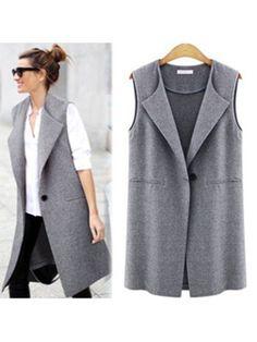 Womens Sleeveless Vest Jacket Long Coat Cardigan Gilets Vest Outwear C – liilgal Vest Coat, Suit Vest, Long Vests, Long Jackets, Women's Vests, Chaleco Casual, Ärmelloser Mantel, Vestidos Chiffon, Long Duster Coat