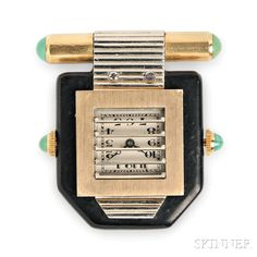 Art Deco Clip Watch, Van Cleef & Arpels, France, c. 1930, with knob to open a shutter and reveal an ivory-tone dial with Arabic numeral indicators, black lacquer case, with 18kt gold and turquoise mounts, lg. 1 5/8 in., maker's mark and guarantee stamp, signed.