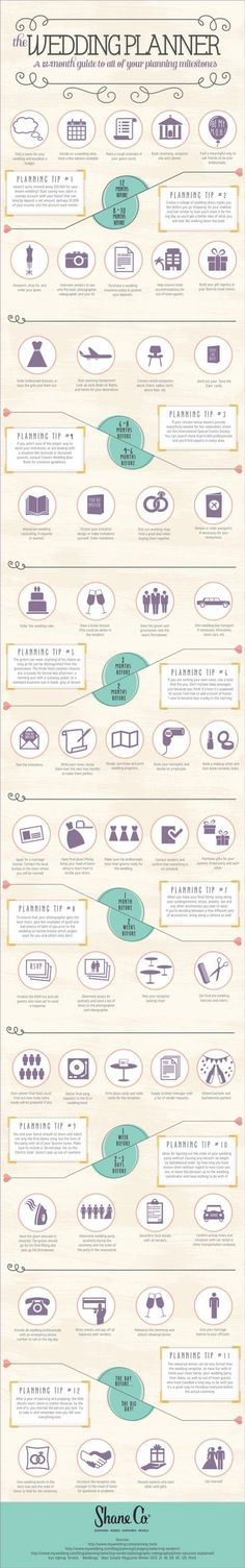 Complete Wedding Planning Timeline by Shane Co #weddingplanninginfographic