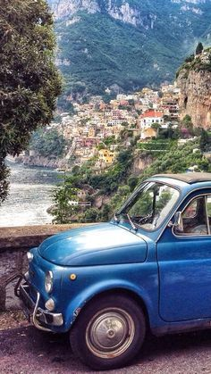 Positano on the Amalfi Coast. very suitable car to travel along the Amalfi coast Places Around The World, Oh The Places You'll Go, Places To Travel, Travel Destinations, Places To Visit, Around The Worlds, Siena Toscana, Positano Italy, Naples Italy