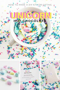 Are you obsessed with the amazingly colorful hot chocolate known as unicorn hot chocolate? Make a kit for complete with colored hot chocolate and homemade rainbow marshmallows! Hot Chocolate Gifts, Christmas Hot Chocolate, Chocolate Diy, Homemade Hot Chocolate, Valentine Chocolate, Hot Chocolate Bars, Hot Chocolate Mix, Hot Chocolate Recipes, How To Make Chocolate