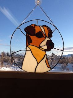 Stained glass Jack Russell terrier. Dog